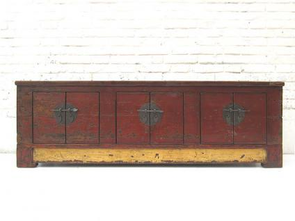 China Mongolei 1860 Lowboard flache Anrichte für TV Flatscreen Pinie 3 Doppeltüren Metallbeschläge von Luxury-Park