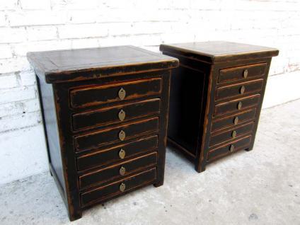 Zwei Schubladenkommoden Schreibtisch Unterschränke mit je 6 Schubladen China Pinie schwarzer Lack von Luxury-Park - Vorschau