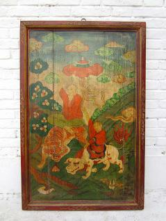 China Tibet 1930 massives traditionell bemaltes Wandbild Panel Landszene Rahmen Pinie Luxury-Park