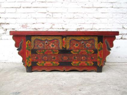 China Tibet 1940 antike flache Kommode Anrichte aus reich verziertem und bemalten Pinienholz von Luxury-Park