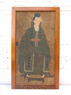 Altes China großes Wandbild junger Adliger Fürst antike Bemalung in Pastelltönen 80 Jahre lackiertes Pinienholz von Luxury-Park