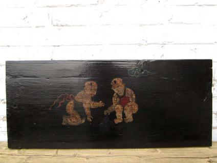 China 120 Jahre altes traditionell auf Pinienholz gemaltes Wandbild Panel Kinderszene von Luxury-Park
