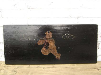 China 120 Jahre altes auf schwarzes Pinienholz gemaltes Wandbild Panel Kinderszene von Luxury-Park