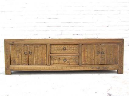 China 1870 lange niedrige Anrichte Lowboard für TV Flatscreen helle Pappelholz Landhausstil von Luxury Park