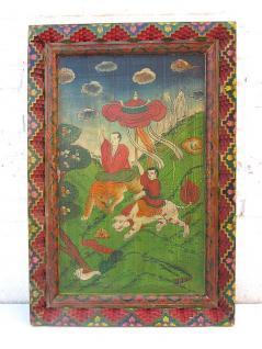Altes China farbenfrohes Wandbild antike Bemalung auf lackiertem Holz klassische Szene von Luxury-Park