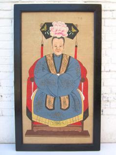 China Frauenportrait großes antikes Wandbild auf lackiertem Holz mit schwarzem Rahmen von Luxury-Park
