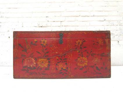 China Mongolei 1890 edle antike Hochzeitstruhe rot lackierte Pinie mit feiner floraler Bemalung von Luxury-Park - Vorschau
