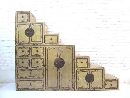 """China große Treppen Kommode schmutzweiß shabby chic Abnutzungsspuren viele Schubladen beidseitig aufstellbar von """"Luxury-Park"""" - Vorschau"""