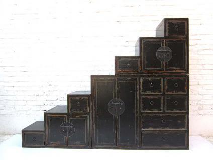 china gro e treppen kommode lackschwarz shabby chic viele schubladen beidseitig aufstellbar von. Black Bedroom Furniture Sets. Home Design Ideas