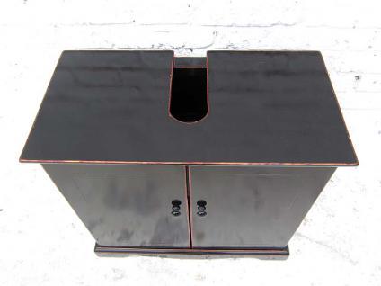 China kleine Kommode Waschtisch Unterschrank schwarz lackiertes Pinienholz Klassiker von Luxury Park