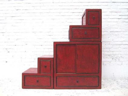 China kleine Treppen Kommode rotbraun viele Schubladen beidseitig aufstellbar unter Schrägen Dachzimmern von Luxury Park