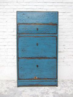 Mittlerer Schuhschrank Lackierung Azur blau shabby drei große Fächer seitliche Schübe shabby chic aus China von Luxury-Park - Vorschau