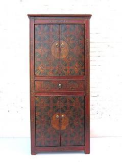 China Art Deco Look seltener halbhoher Schrank Kabinett braunrot auf schwarz lackierte Pinie von Luxury Park - Vorschau