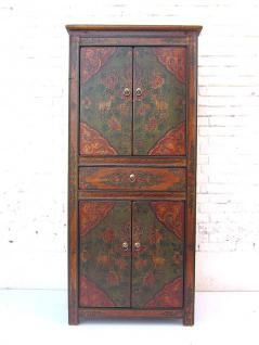 China vor 1920 edler halbhoher Schrank Kabinett zwei Doppeltüren im klassischen braunrot lackierte Pinie von Luxury Park