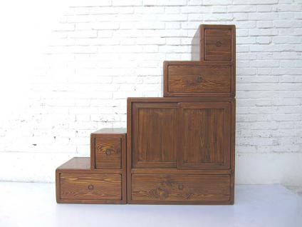 China ideal für Dachzimmer unter Schrägen und Treppen Kommode naturbraun viele Schubladen beidseitig aufstellbar von Luxury Park - Vorschau