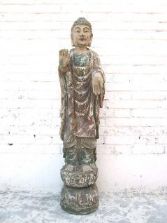 China Buddha stehend große Skulptur bemaltes Pappelholz 60 Jahre alt von Luxury Park