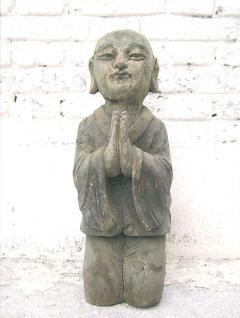 China um 1910 Skulptur betender Mönch buddhistische Sakralfigur Pappelholz von Luxury Park