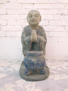 China Mönch Skulptur buddhistische Altarfigur mit Räucherstab Becken Pappel ca 100 Jahre alt von Luxury Park