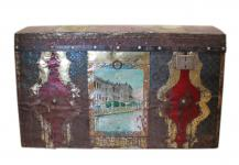 Bulgarien 1930 interessante Truhe Box in ungewöhnlich bunter Optik shabby chic