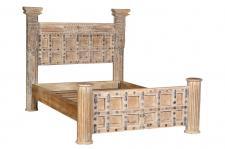 Indien Massivholz Bett 140cm Breite Kassettenfront Rajasthan