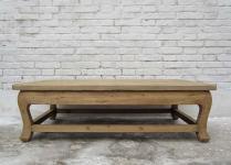 China grosser flacher Tisch Podest helles Ulmenholz naturbelassen