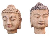 China 1950 2 x Frauen Kopf Porträt Skulptur Bildhauerei Blauglockenbaum zwei zur Auswahl