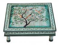 Indien flacher Tisch quadratisch Bajot hellblau bemalt Motiv Baum Massivholz