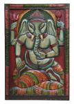 Indien uraltes Wandbild Elefanten Göttin Ganesha Naturholz von Luxury-Park
