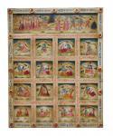 India geschnitztes Wandbild Kassetten Panel in zarten Farben Gottheiten