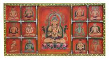 India großartig geschnitztes Wandbild Panel mit antiker Bemalung von Luxury-Park