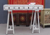 China filigrane Anrichte Garderobentisch Schreibtisch Pinienholz altweiß