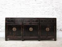 China Kommode 1890 Kolonial Stil ultralange Konsole Anrichte Sideboard Schwarzer Lack mit Metallschließen von Luxury Park