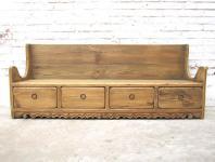 Shanxi 1890 herrliche rustikale Sitzbank mit Schubladen im Sockel Landhausstil Fichtenholz von Luxury-Park