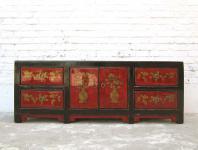 China ca 1930 flache Anrichte Kommode Lowboard Pinie bemalt mit traditionellen Motiven von Luxury Park