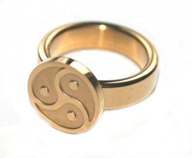 BDSM Ring Symbol Peitschenrad Triskele, goldfarben - Vorschau 2