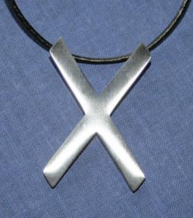 BDSM Anhänger Halskette Andreaskreuz, silber - Vorschau 1