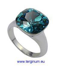 Ring Weißgold 18K pl. m. echtem Kristall