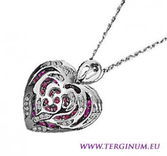 Halskette Herz-Anhänger Weißgold 18K pl. Zirkonia