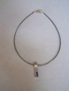 AE-01# Halskette Choker mit Strassanhänger silberfa