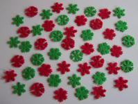 48 teiliges Streudeko Eisblume - Filz - 2 Farben - 4 cm - rot - grün
