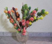 8 Äste mit Früchten und Blätter - Kürbisse - Dekoobst Dekoration Deko für Vasen
