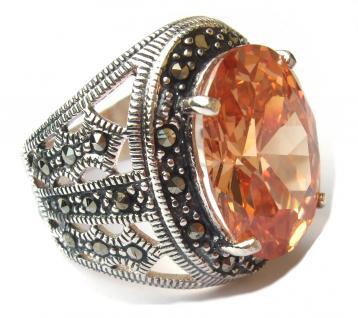 CHAMPAGNER STEIN GIGANT Zirkonia Markasit Silber Ring