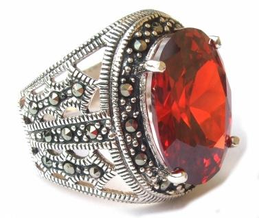 ROTER STEIN GIGANT Zirkonia Markasit Silber Ring
