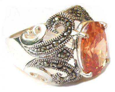 GROSSER CHAMPAGNER STEIN Zirkonia Markasit Silber Ring