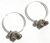 3 KUGELN CREOLEN antike Silber Ohrringe jüdisch-jemenitisch