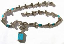 TURQUOISE CLEOPATRA -Türkis Markasit 925 Silber Collier