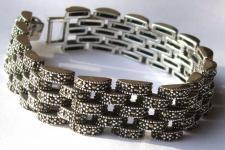SPARKLING LIKE DIAMONDS -239x Markasit 925 Silber breites Armban