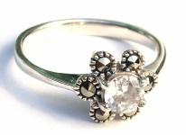 CLASSIC WHITE PRINCESS-Markasit Weißtopas 925 Silber Ring