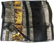GOLDEN ELEFANTS-Schal 100% Rohseide schwarz mit silberkupfer