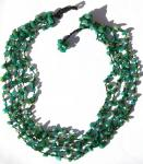 BLUEGREEN FAIRYTALE -Moosachat Perlen 5-Reiher Collier